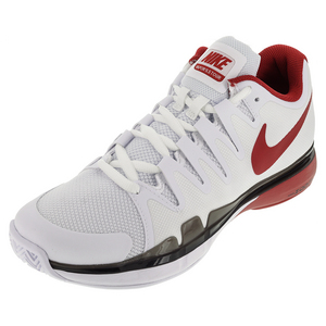 Men`s Zoom Vapor 9.5 Tour Tennis Shoes White and University Red
