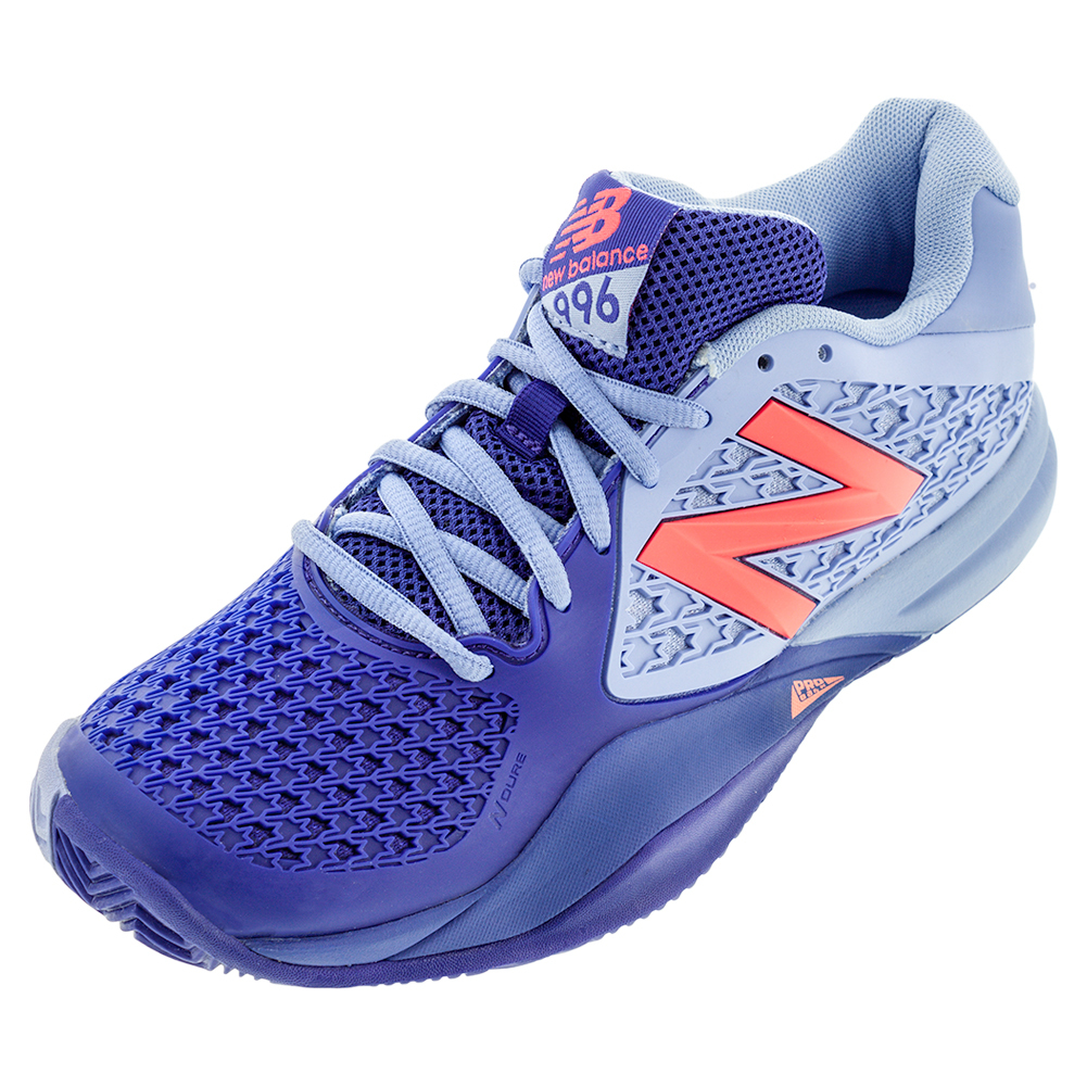 cheap for discount 7eac7 ac8b3 New Balance Women s 996v2 B Width Tennis Shoes Spectral Blue and Pink
