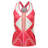 LUCKY IN LOVE Women`s Summer Lovin` Racerback Tennis Tank Hibiscus Linen