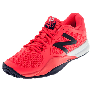 Men`s 996v2 D Width Tennis Shoes Bright Cherry and Black