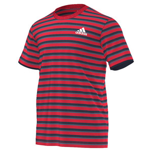 adidas MENS CLUB STRIPE TNS TEE RAY RED/CL NAVY