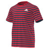 ADIDAS Men`s Club Stripe Tennis Tee Ray Red and Collegiate Navy