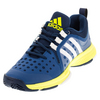 ADIDAS Men`s Barricade Classic Bounce Tennis Shos Tech Steel and White