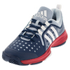 ADIDAS Women`s Barricade Classic Bounce Tennis Shoes Tech Steel and White