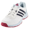 Women`s Barricade Court 2 Tennis Shoes White and Collegiate Navy by ADIDAS