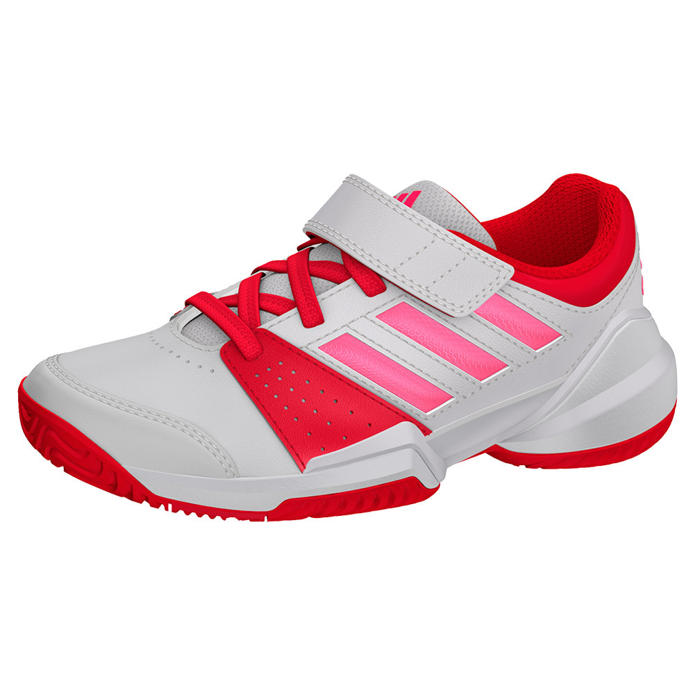 Juniors ` Court El C Tennis Shoes White And Flash Red