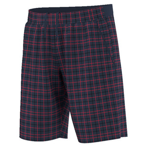 Men`s Club Plaid Bermuda Tennis Short Collegiate Navy and Ray Red
