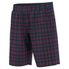 ADIDAS Men`s Club Plaid Bermuda Tennis Short Collegiate Navy and Ray Red