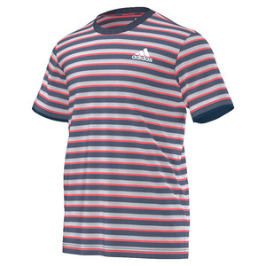 Men`s Club Stripe Tennis Tee Tech Ink and Flash Red