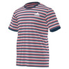 ADIDAS Men`s Club Stripe Tennis Tee Tech Ink and Flash Red
