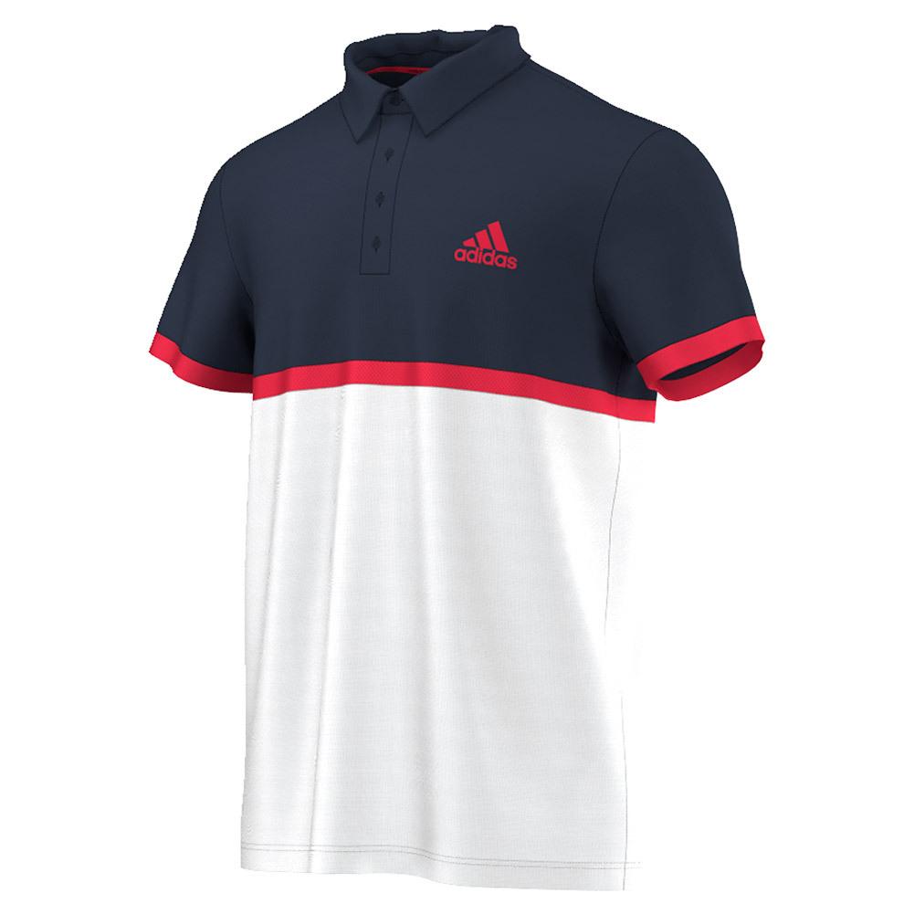 Men's Court Tennis Polo White And Collegiate Navy