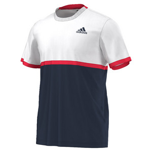 Men`s Court Tennis Tee Collegiate Navy and White