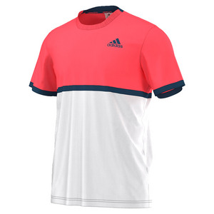 adidas MENS COURT TENNIS TEE WHITE/FLASH RED