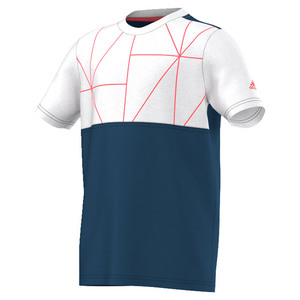 Boys` Club Trend Tennis Tee Tech Steel and White