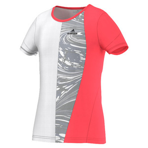 Girls` Stella McCartney Barricade New York Tennis Tee Flash Red and White