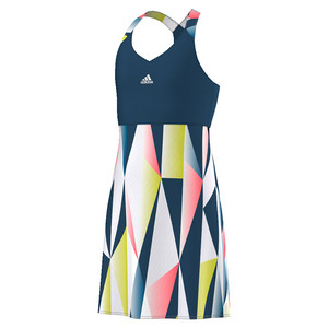Girls` Pro Tennis Dress Tech Steel and White