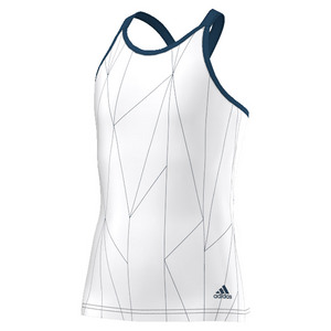 Girls` Club Printed Tennis Tank White and Tech Steel