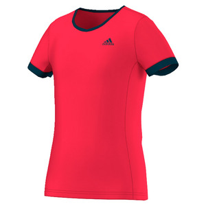 Girls` Court Tennis Tee Ray Red and Collegiate Navy