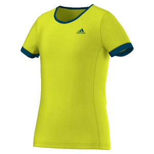 Girls` Court Tennis Tee Shock Slime and Collegiate Navy
