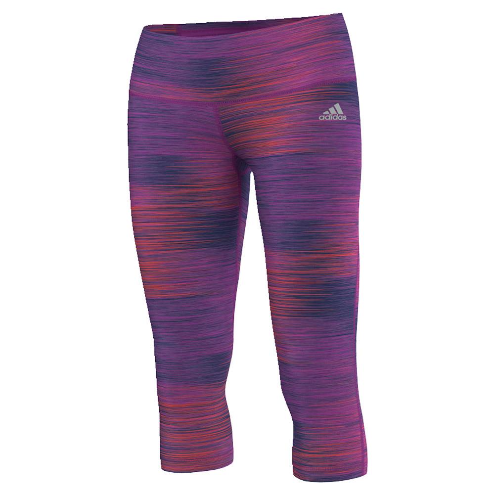 Women's Performer Mid Rise Three- Quarter Tight Shock Purple Print