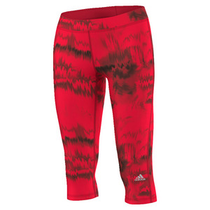 Women`s Techfit Brush Glitch Print Capri Ray Red