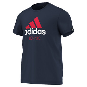 adidas MENS GRAPHIC TENNIS TEE COLL NAVY