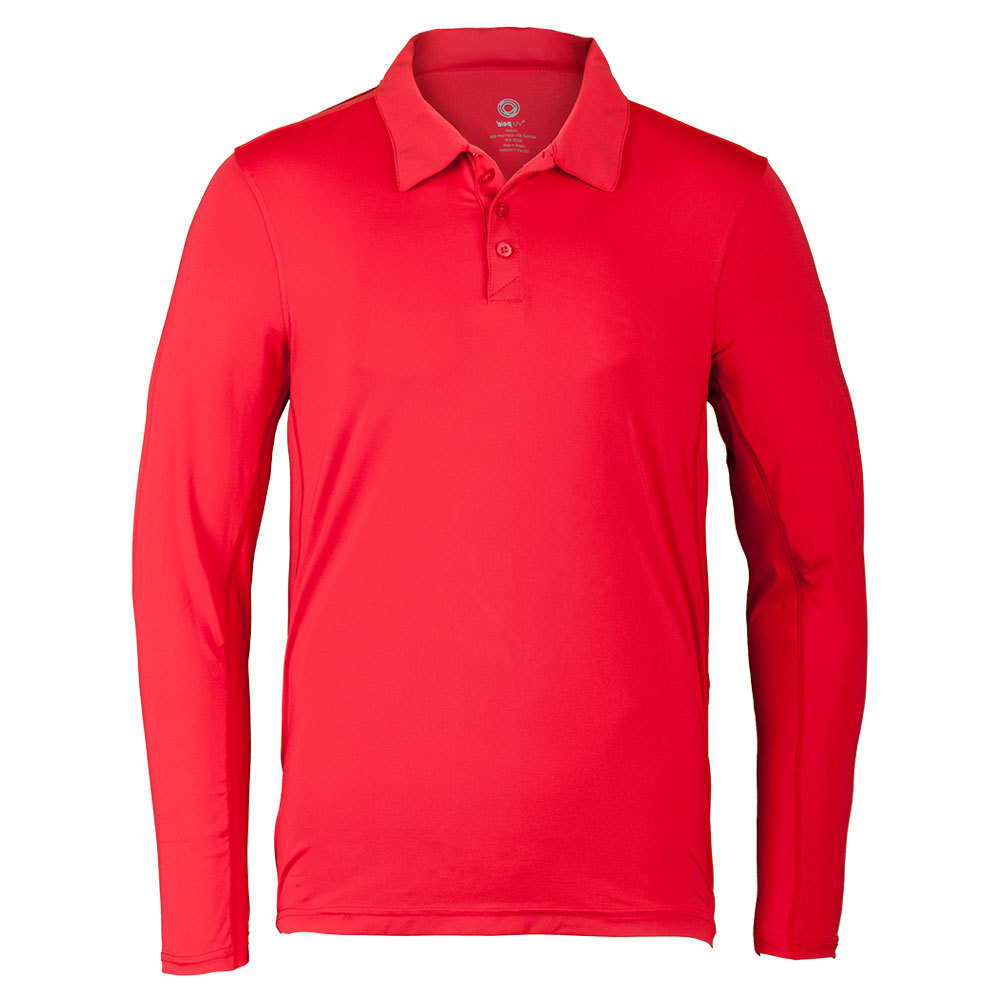 Men's Long Sleeve Tennis Polo Red