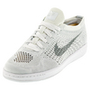 NIKE Women`s Classic Ultra Flyknit Tennis Shoe White and Wolf Gray