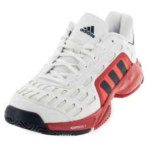 Men`s Barricade Court 2 Tennis Shoes White and Viviid Red
