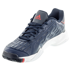 Men`s Barricade Court 2 Tennis Shoes Collegiate Navy and Viviid Red