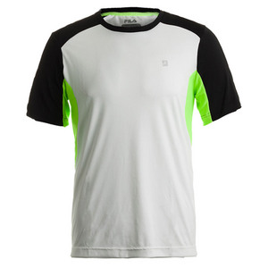 Men`s Alpha Color Blocked Tennis Crew White and Black