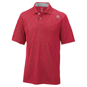 Men`s Textured Tennis Polo Crimson