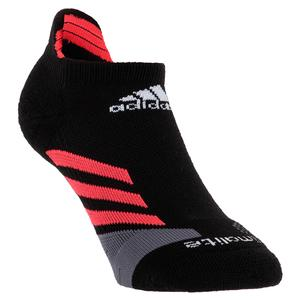 Traxion No Show Tennis Socks Black and Shock Red