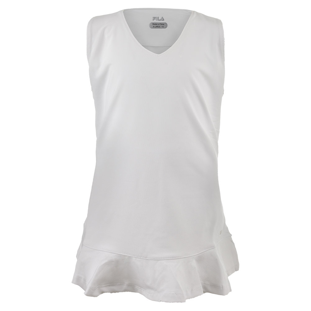 Girls ` Peplum Tennis Top White