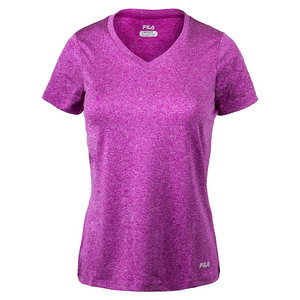 FILA WOMENS HEATHER V-NECK TEE CONCORD GRAPE