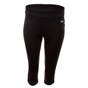 Women`s Side Piped Tight Capri Black and Nine Iron