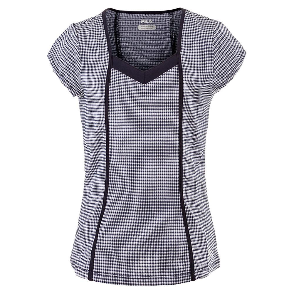 Girls ` Gingham Cap Sleeve Tennis Top