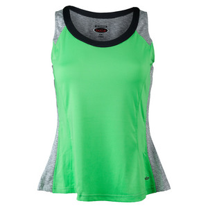 Women`s Priscilla Tennis Tank Lime and Gray Heather