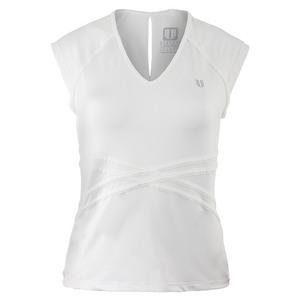 ELEVEN WOMENS INSPIRE CAP SLEEVE TNS TOP WHITE