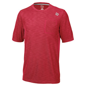 Men`s Textured Tennis Crew Crimson