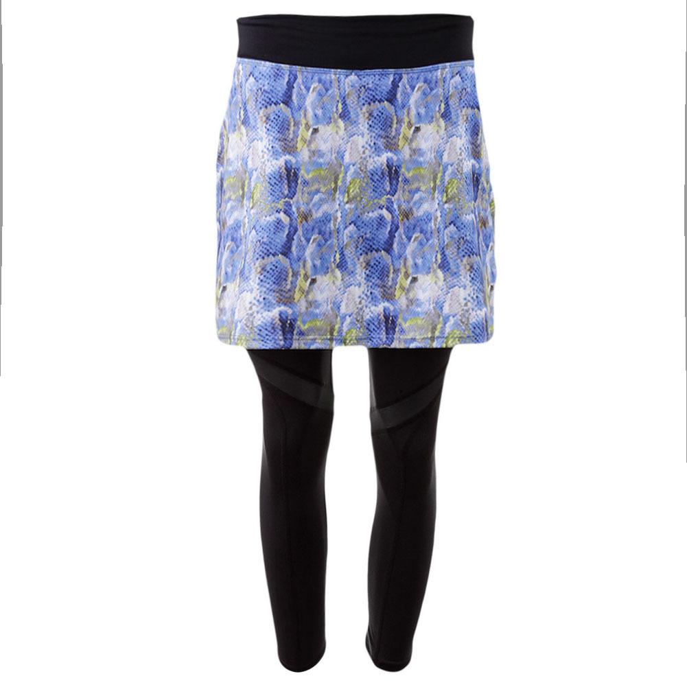 Women's Tennis Skirt Capri Blue Print And Black