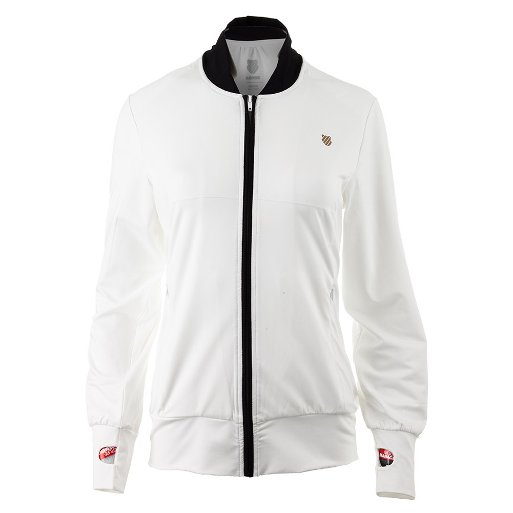 Women's Warm Up Tennis Jacket White And Black