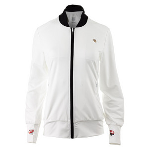 Women`s Warm Up Tennis Jacket White and Black