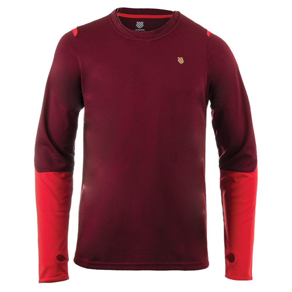 Men's Long Sleeve Tennis Crew Biking Red And Fiery Red