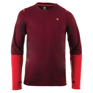 Men`s Long Sleeve Tennis Crew Biking Red and Fiery Red