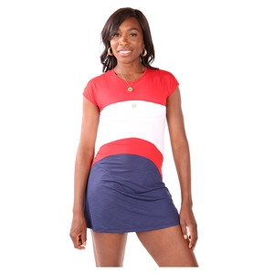 Womens Banner Tennis Dress Red and White