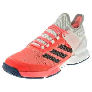 Men`s Adizero Ubersonic 2 Tennis Shoes Flash Red and Tech Steel