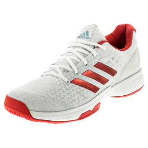 Women`s Adizero Ubersonic 2 Tennis Shoes White and Ray Red