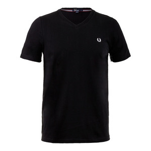 FRED PERRY MENS V-NECK TENNIS TEE BLACK