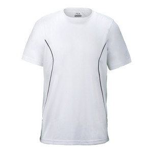 Men`s Fundamental Crew Neck Tennis Top White and Peacoat
